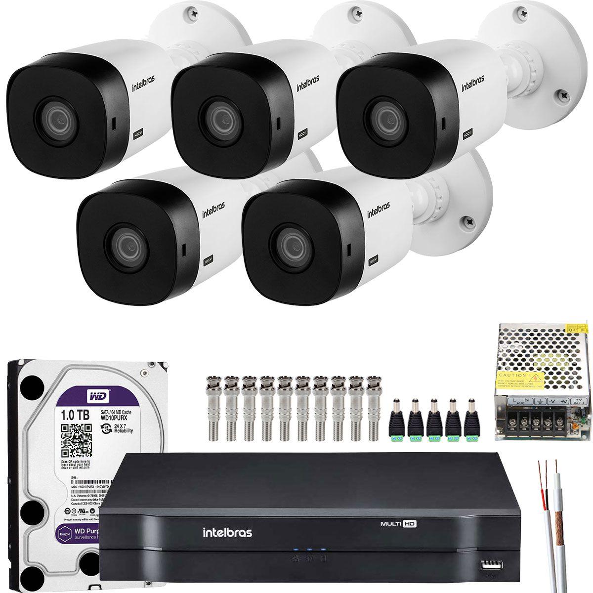 Kit 5 Cameras Bullet Intelbras Hd 720p Hdcvi Vhl 1120 B