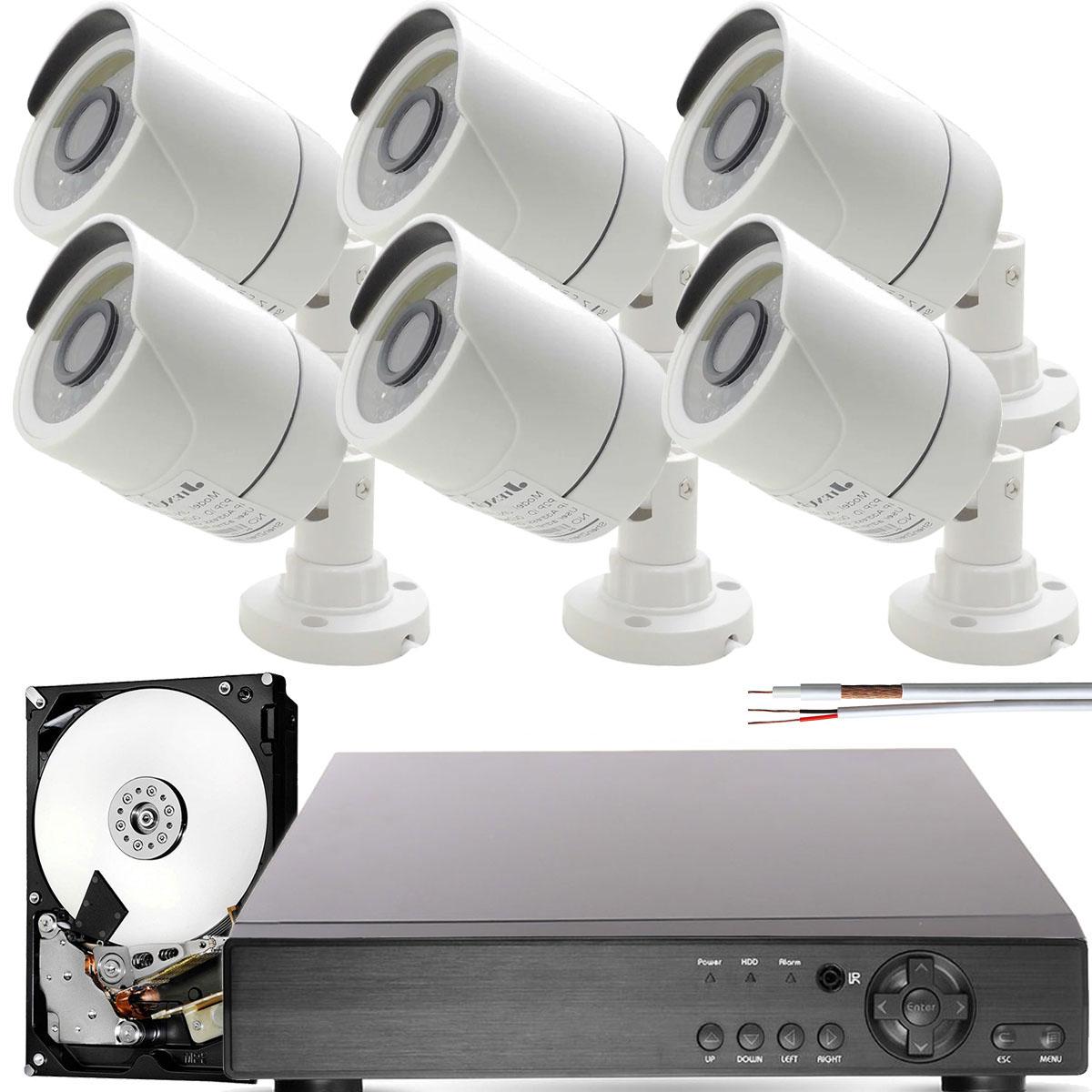 Kit 6 Cameras de Segurança Hd Infravermelho App Cloud Dvr 8 Canais
