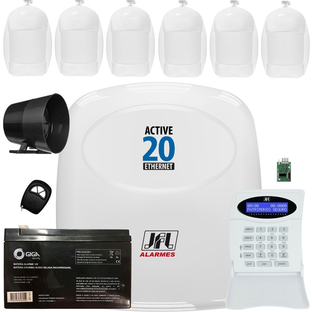 Kit Alarme Active 20 Ethernet Com 6 Sensores Idx 1001 Jfl