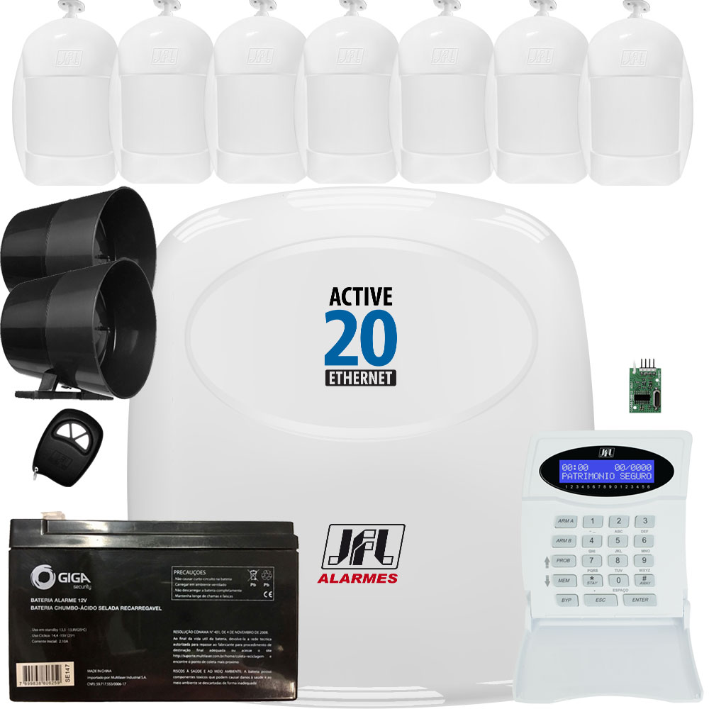 Kit Alarme Active 20 Ethernet Com 7 Sensores Idx 1001 Jfl