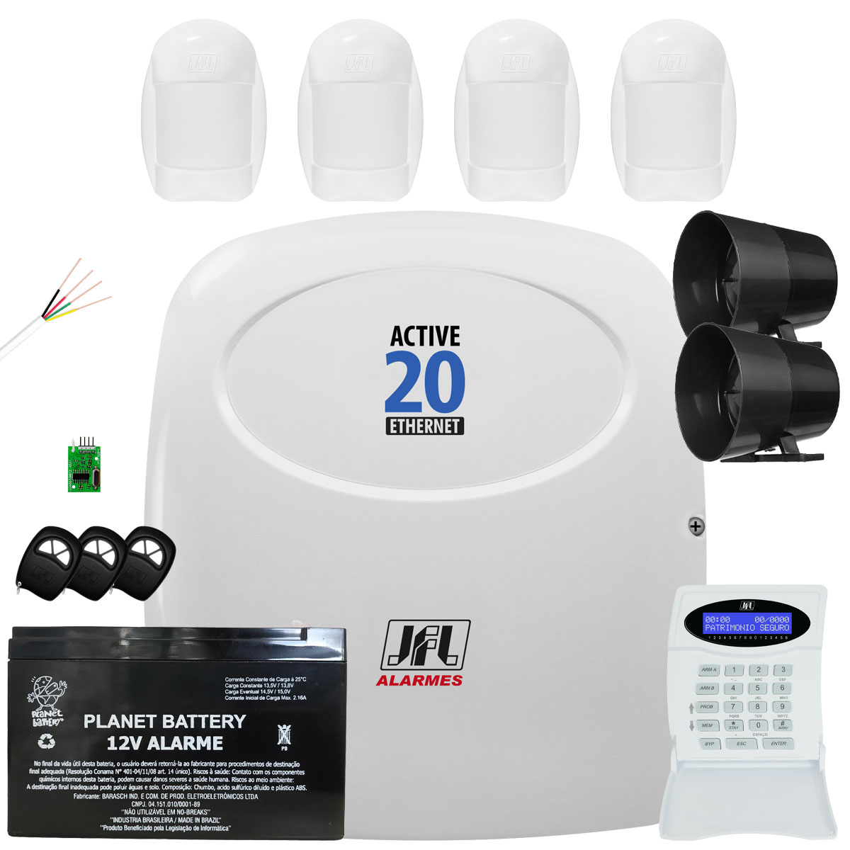 Kit Alarme Active 20 Ethernet Jfl Sensores Idx 1001 Jfl