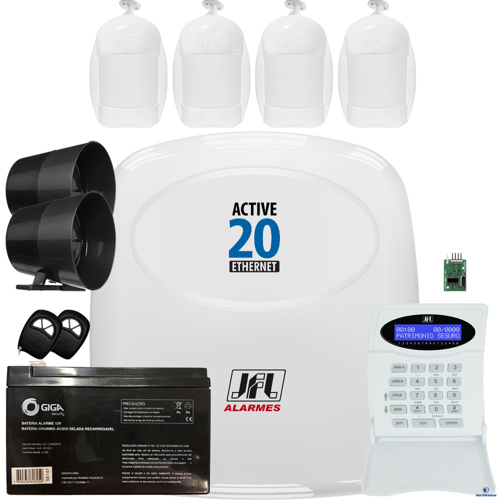 Kit Alarme Active 20 Ethernet Sensor Idx 1001 e Pet Idx 2001 Jfl