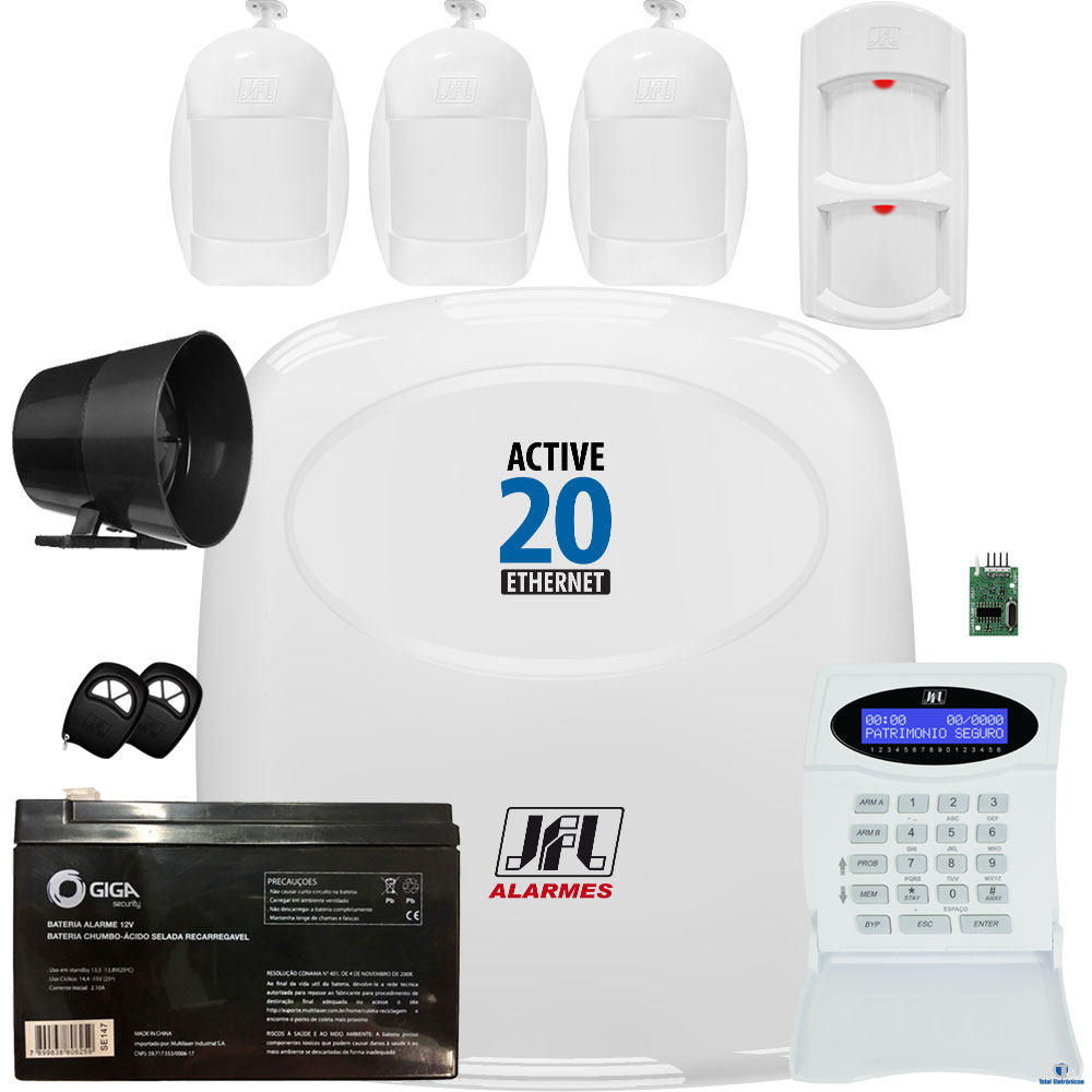 Kit Alarme Active 20 Ethernet Sensores Idx 1001 e Ird 640 Jfl