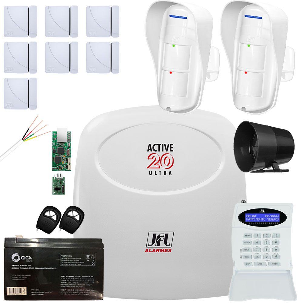 Kit Alarme Active 20 Ultra Com Sensor Dse 830 e Magnéticos Jfl