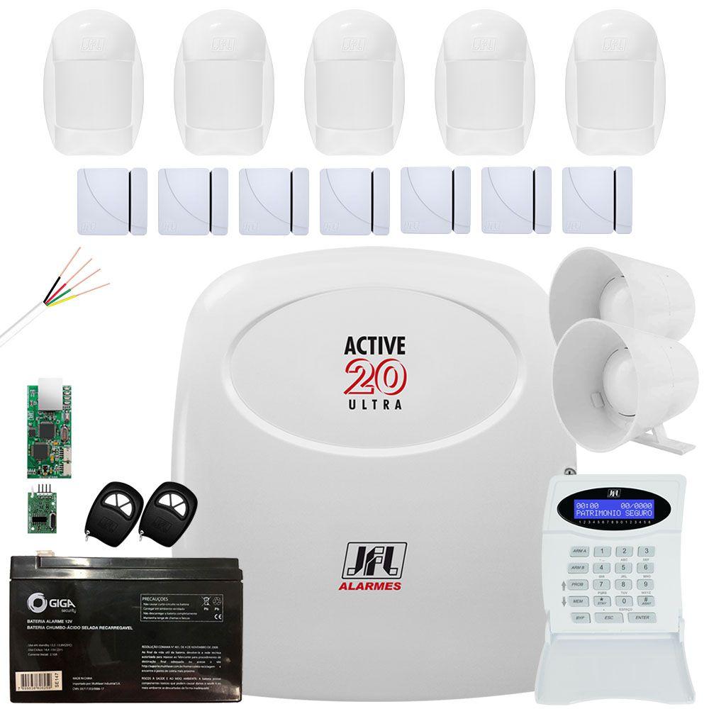 Kit Alarme Active 20 Ultra Com Sensor Idx 2001 e Magnéticos Jfl