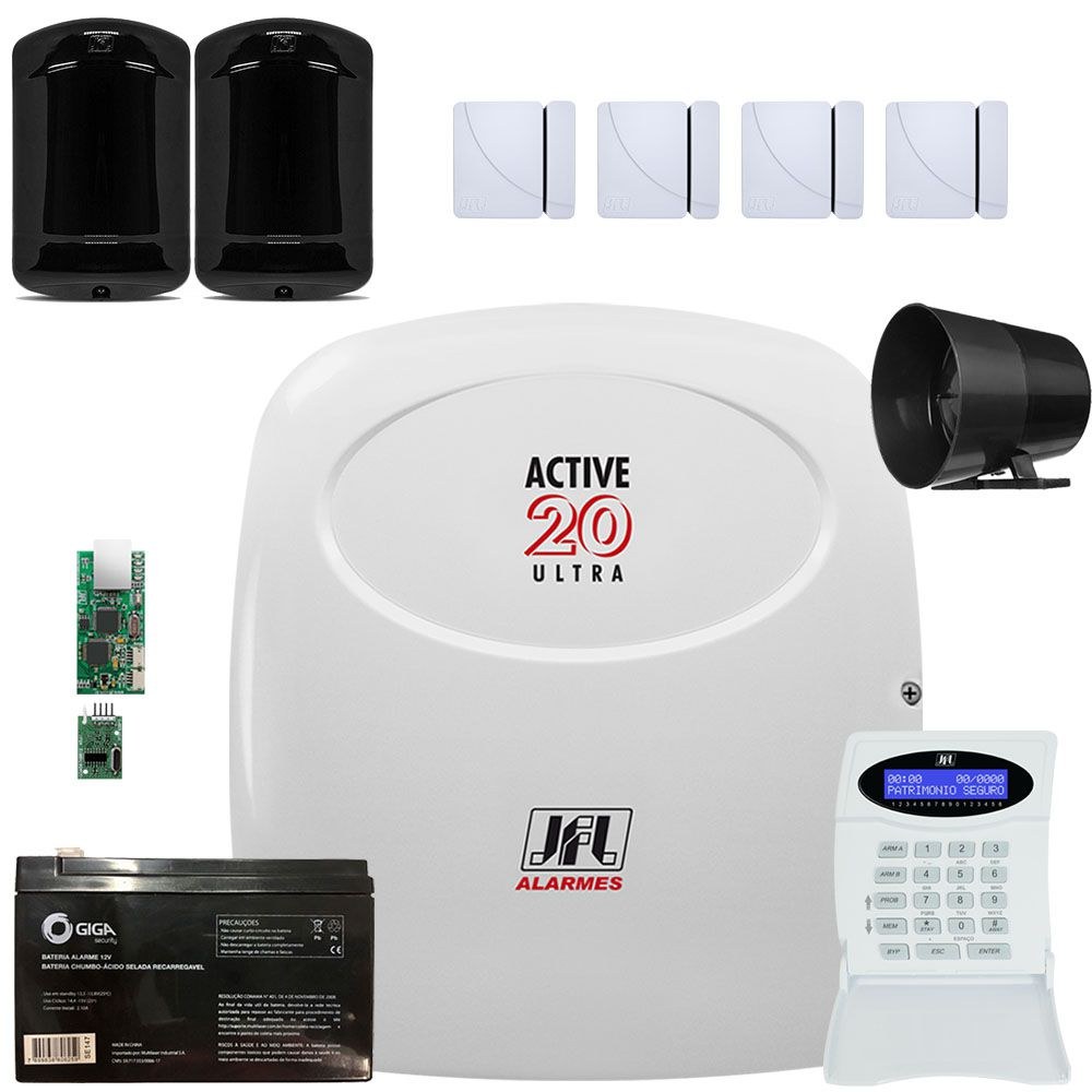 Kit Alarme Active 20 Ultra Com Sensores Magnéticos Shc Fit Jfl