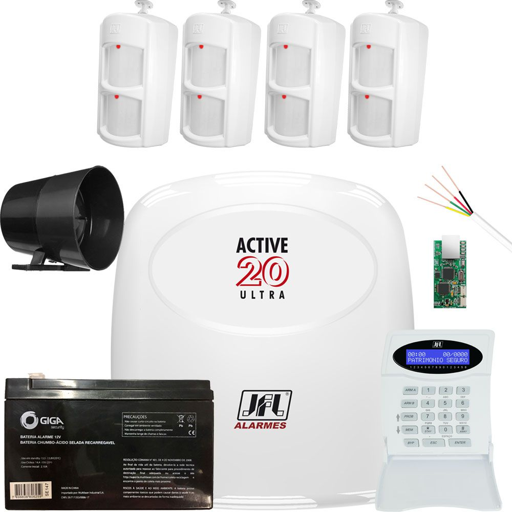 Kit Alarme Active 20 Ultra com Sensores Pet 30Kg Ird 640 Jfl