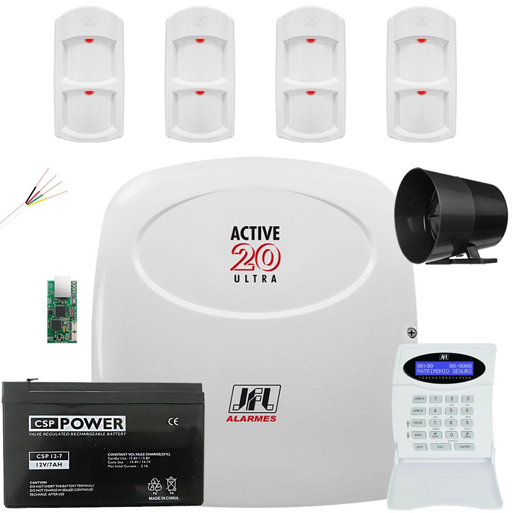 Kit Alarme Active 20 Ultra com Sensores Pet 30Kg Ird 640 Jfl