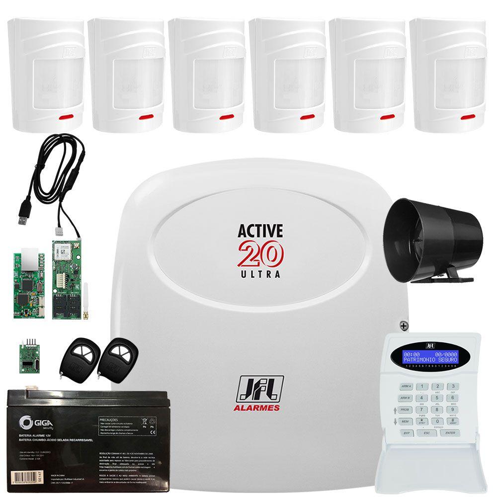 Kit Alarme Active 20 Ultra com Sensores Sem Fio Irs 430i Jfl