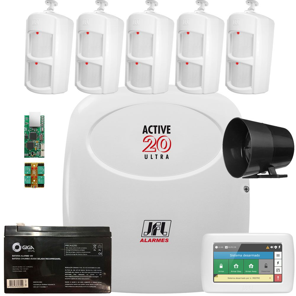 Kit Alarme Active 20 Ultra Jfl Com Modulo E Teclado Ts 400 Jfl