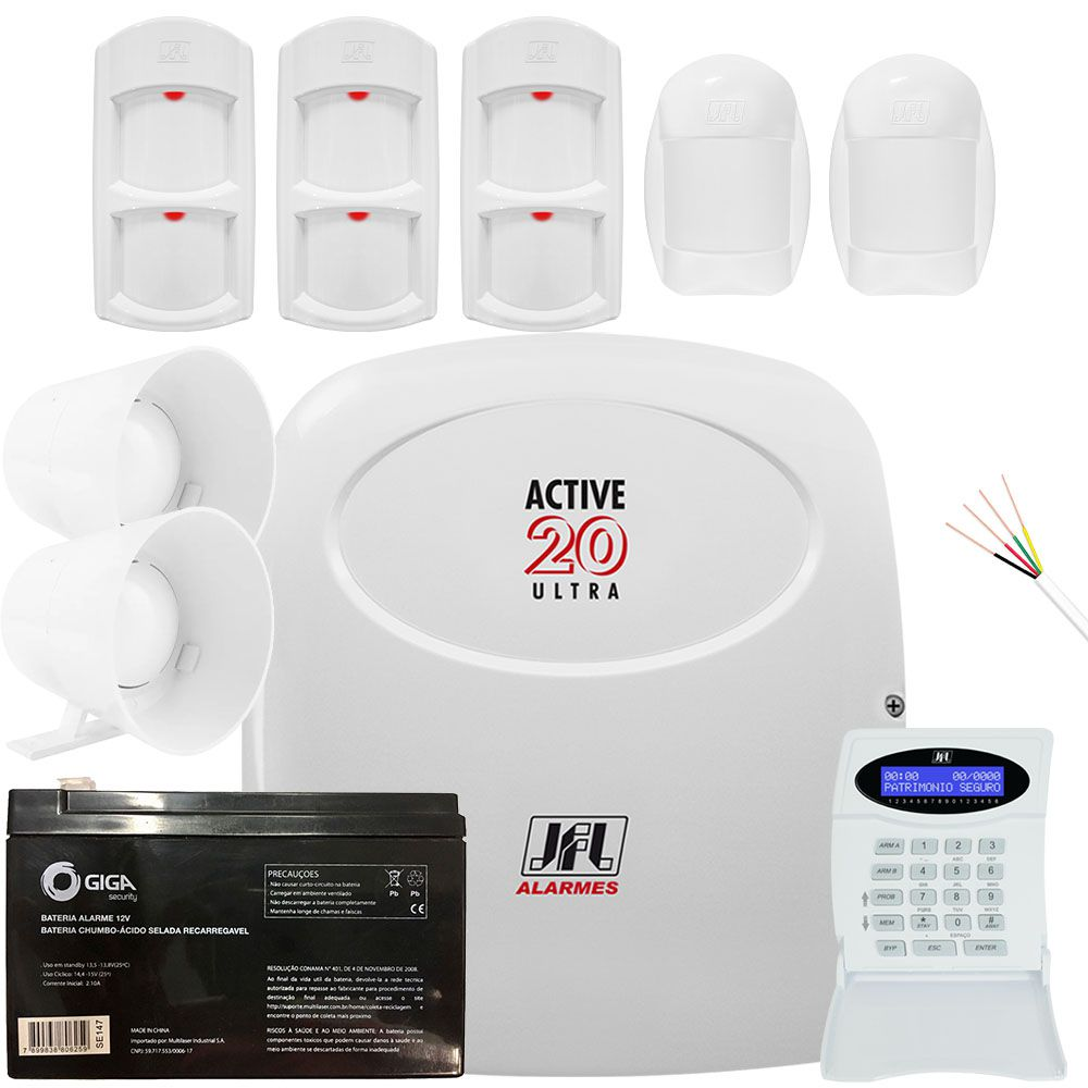 Kit Alarme Active 20 Ultra Jfl Sensores Idx 2001 e Ird 640