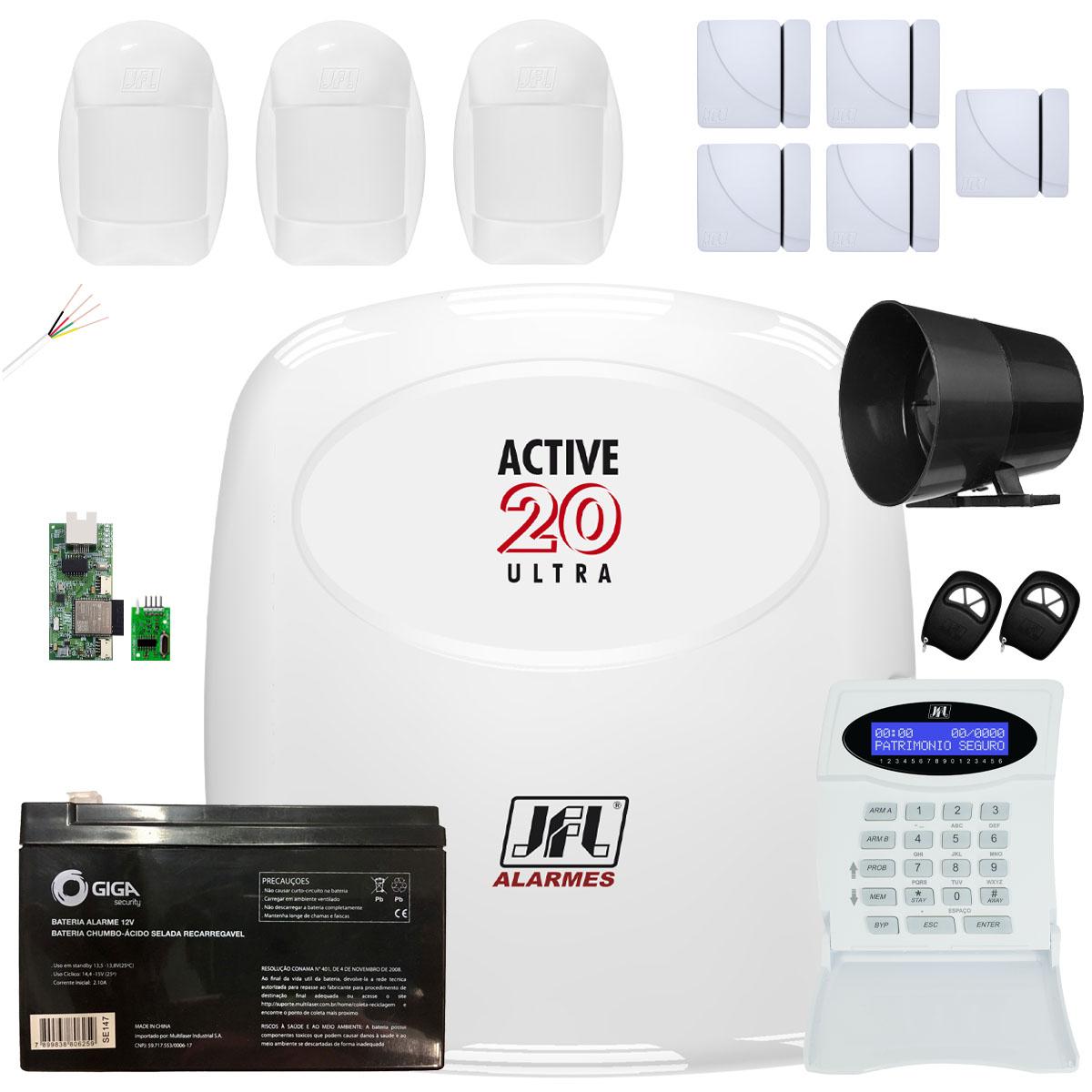 Kit Alarme Active 20 Ultra Sensores Pet 20Kg e Magnéticos Jfl