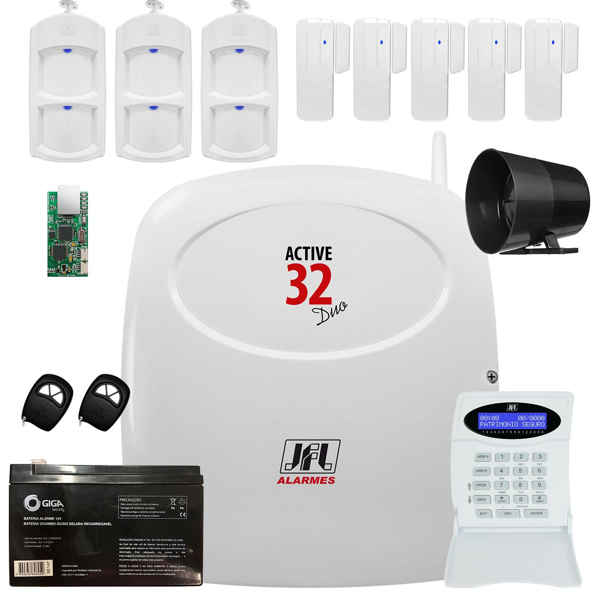Kit Alarme Active 32 Duo Com Sensores Ird 650 e Sl 220 Duo Jfl