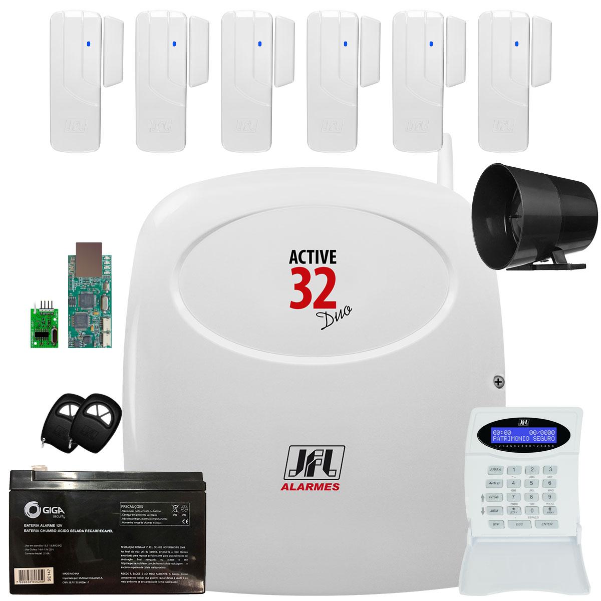 Kit Alarme Active 32 Duo Jfl Com 6 Sensores Sl 220 Duo