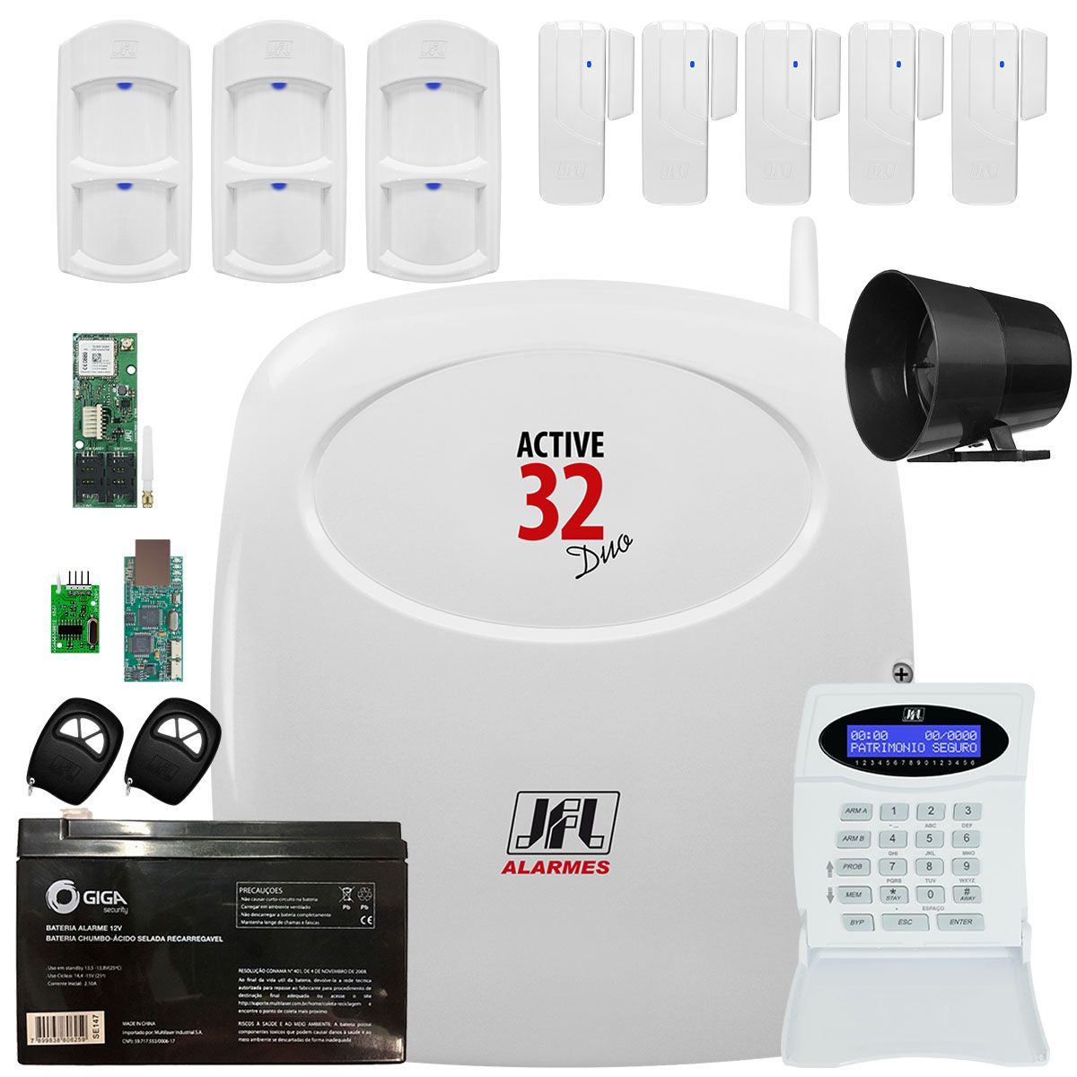 Kit Alarme Active 32 Duo Sensores Ird 650 E Sl 220 Duo Jfl