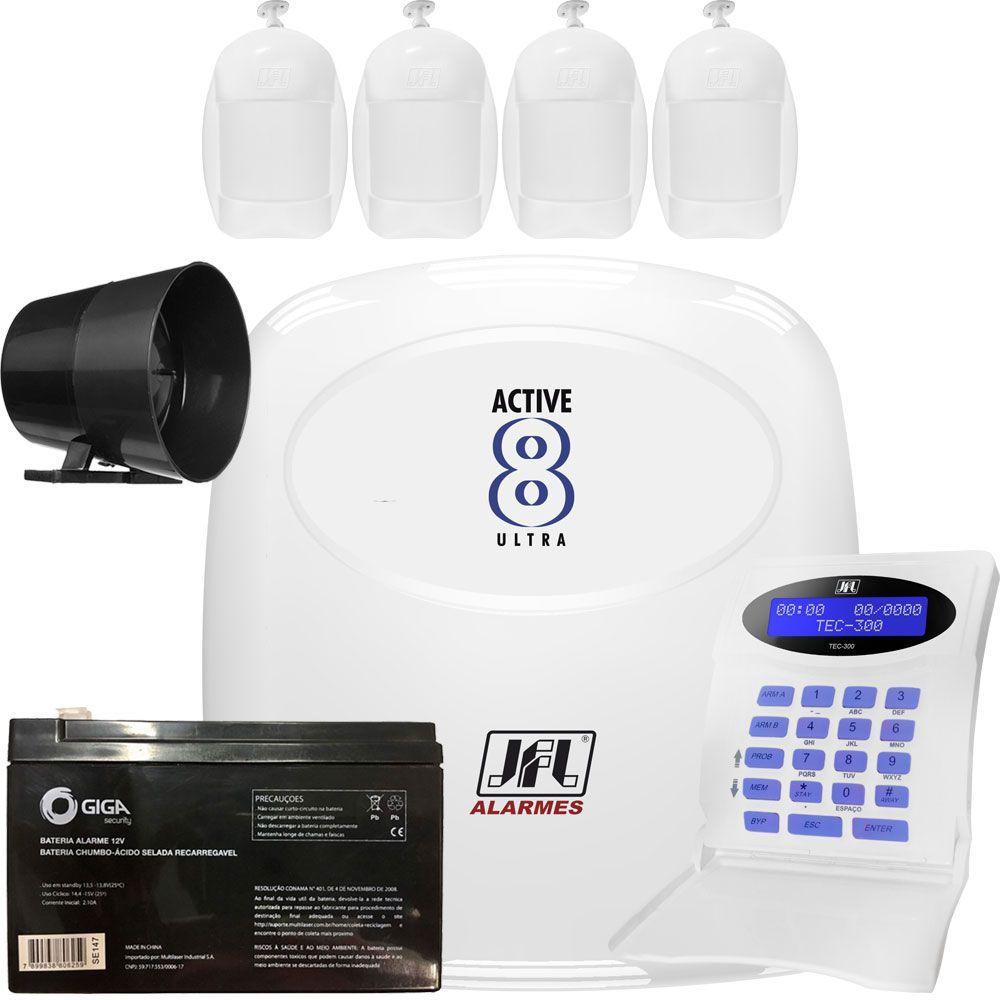 Kit Alarme Active 8 Ultra Jfl Com Sensores Internos Idx 1001 Jfl