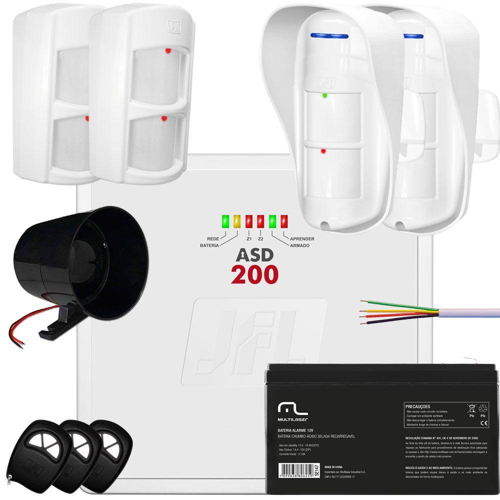 Kit Alarme Asd 200 Jfl Com Sensores Dse830 E Ird 640  Jfl