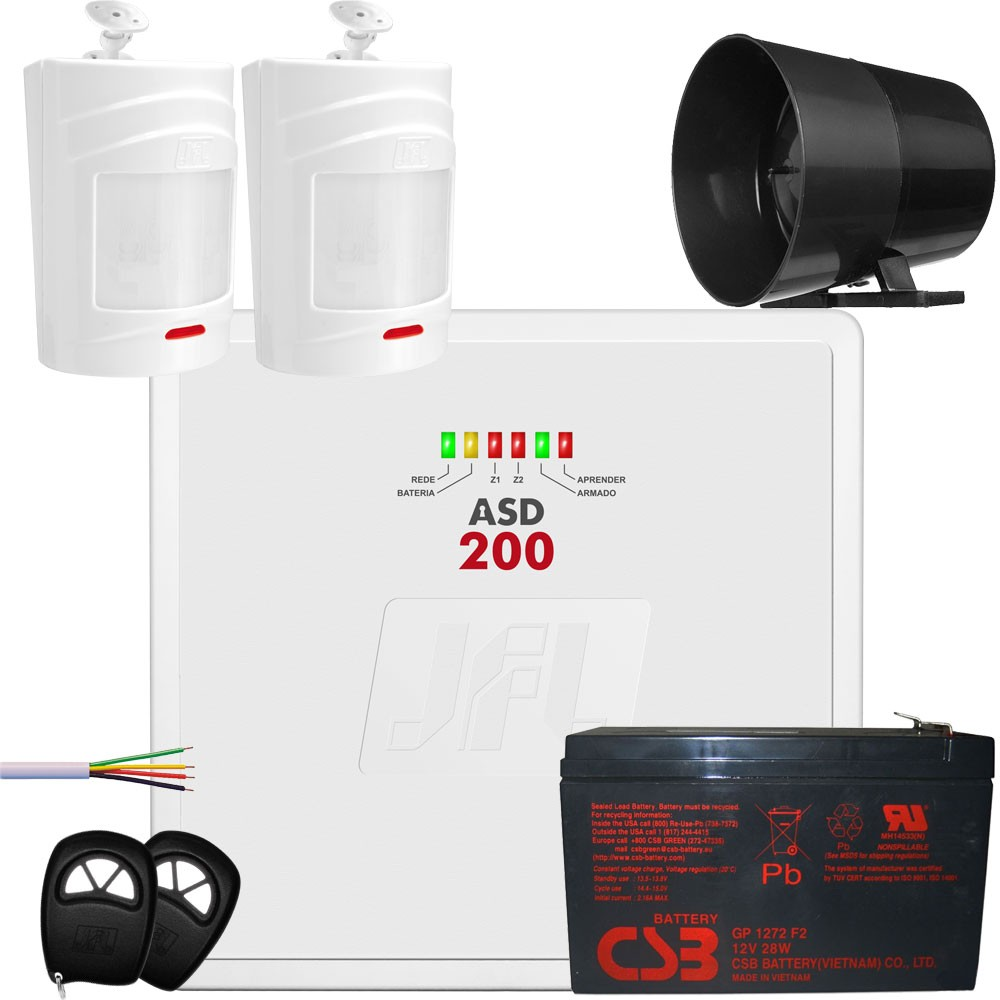 Kit Alarme Central Asd 200 Jfl Com Sensores Sem Fio Irs 430i