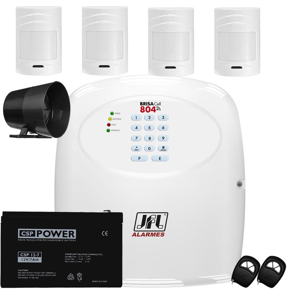 Kit Alarme  Discadora Gsm Brisa Cell 804 Jfl Sensores Ir Pet 530 Sf
