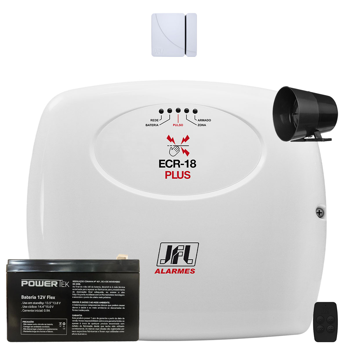 Kit Alarme e Cerca Elétrica Ecr 18 Plus Jfl Com Sensor Magnetico