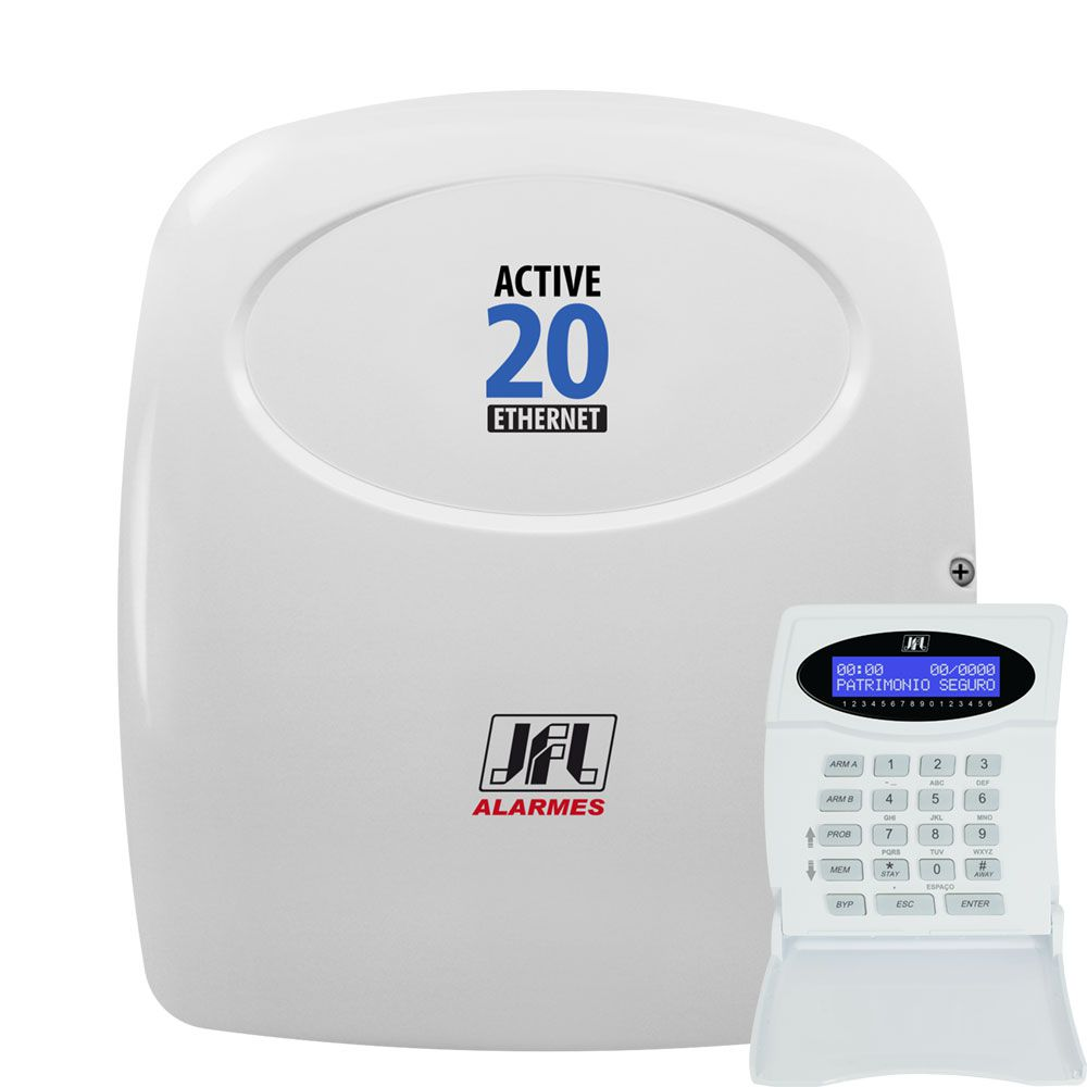 Kit Alarme Jfl Active 20 Ethernet 10 Sensores Sem Fio IrPet 530sf
