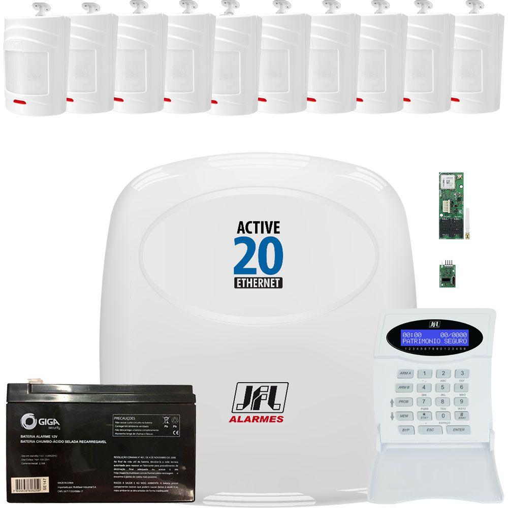 Kit Alarme Jfl Active 20 Ethernet 10 Sensores Sem Fio Irs 430i