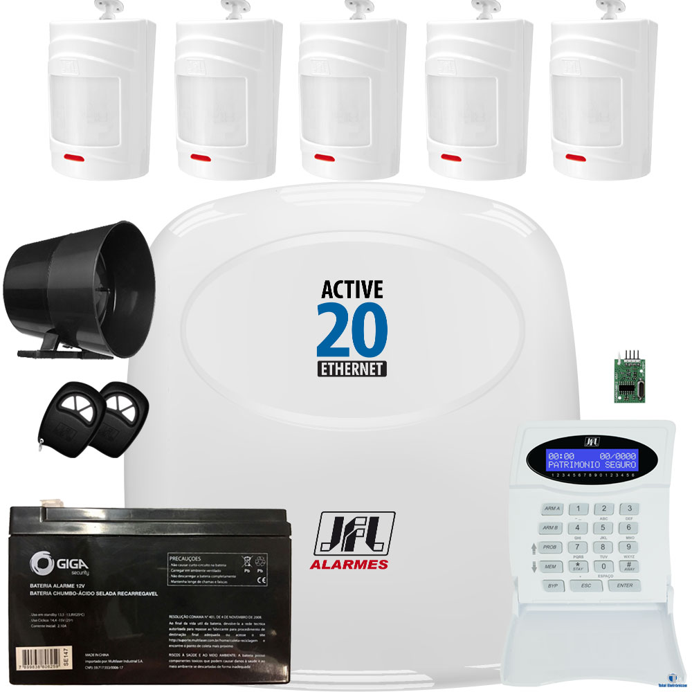 Kit Alarme Jfl Active 20 Ethernet 5 Sensores Sem Fio Irs 430i
