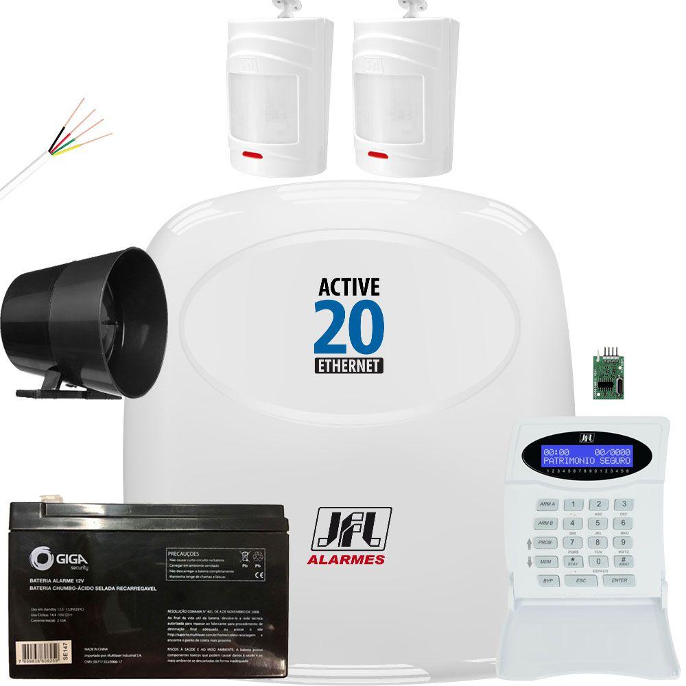 Kit Alarme Jfl Active 20 Ethernet Sensores Sem Fio Irs 430i