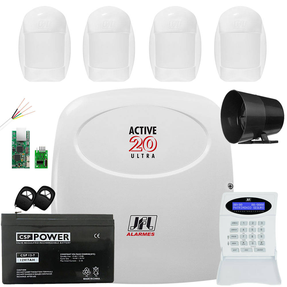 Kit Alarme Jfl Active 20 Ultra com 4 Sensores Idx 2001 Jfl