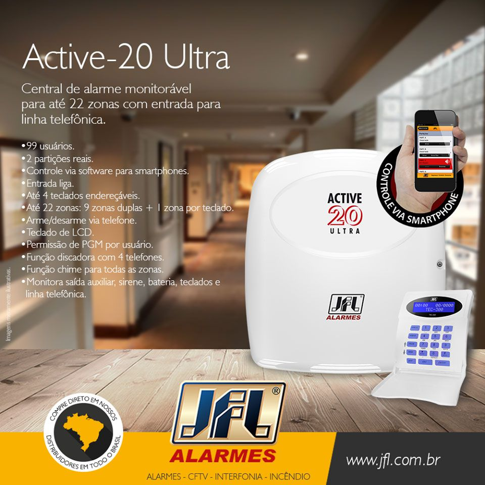 Kit Alarme Jfl Active 20 Ultra com Sensores Idx 1001 Jfl