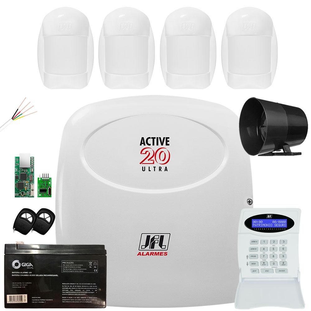 Kit Alarme Jfl Active 20 Ultra com 4 Sensores Idx 1001 Jfl
