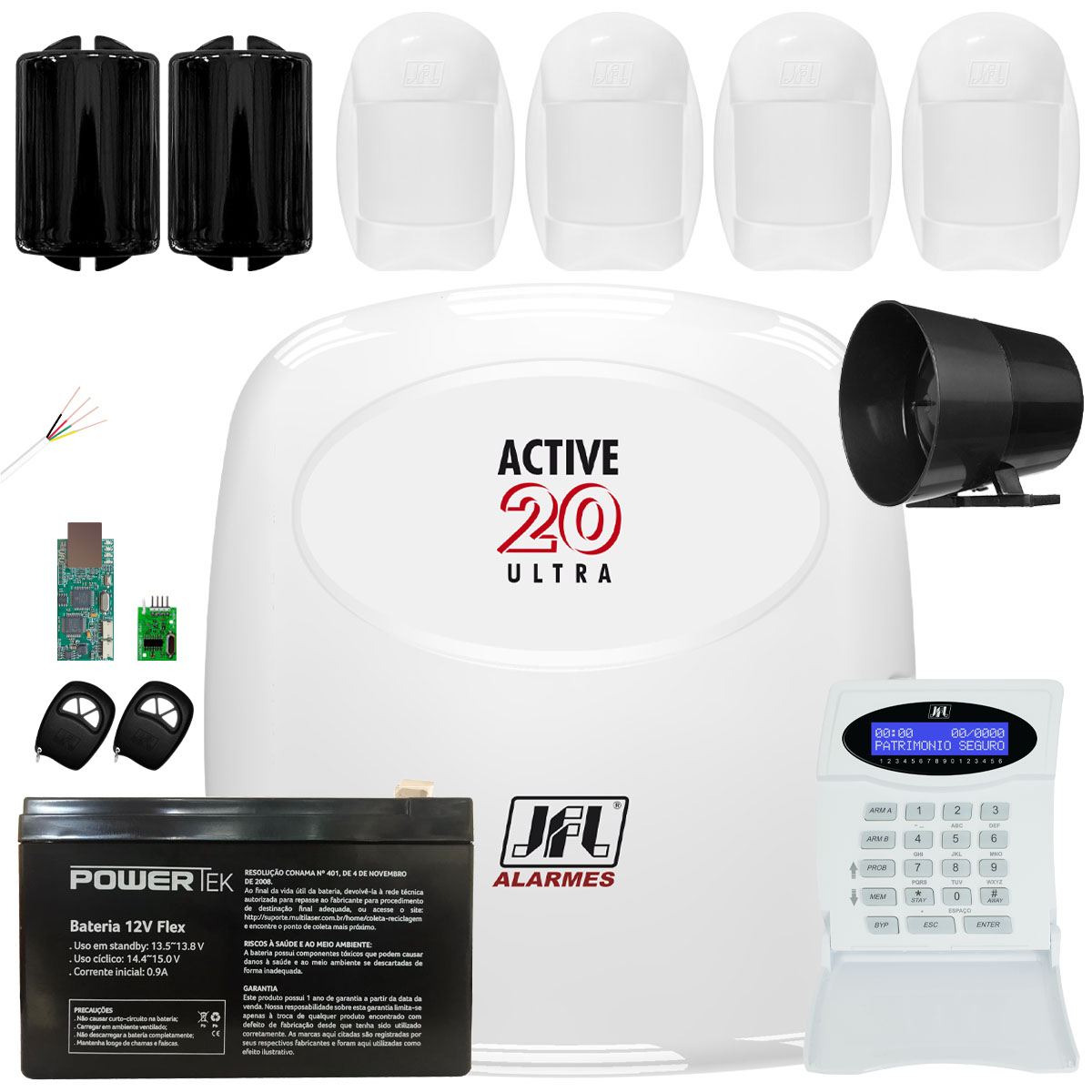 Kit Alarme Jfl Active 20 Ultra Sensores Idx 2001 e Ira 20 Jfl