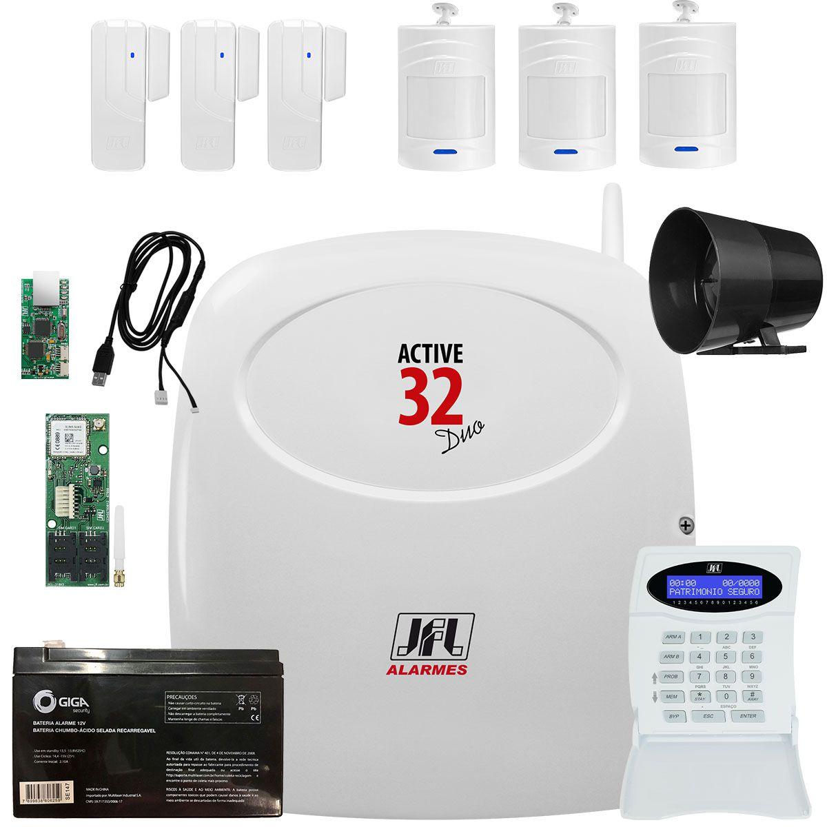 Kit Alarme Jfl Active 32 Duo com Sensores e Teclado Sem Fio