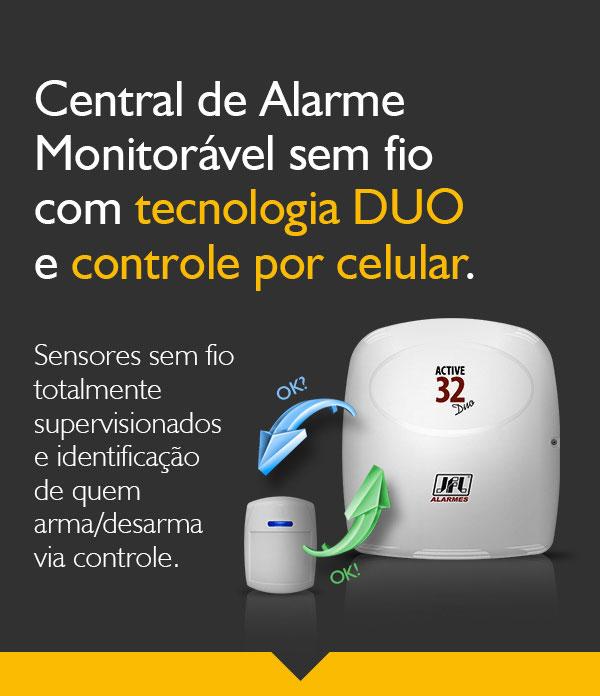 Kit Alarme Jfl Active 32 Duo Com Sensores Sl 220 Duo e 520 Duo
