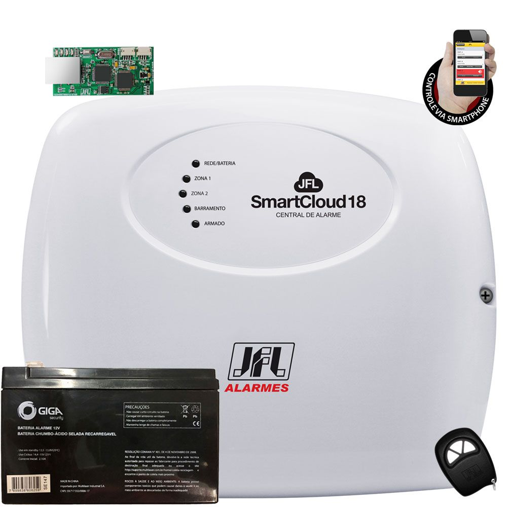 Kit Alarme Jfl Smart Cloud 18 Com Modulo Ethernet E Sensores Jfl