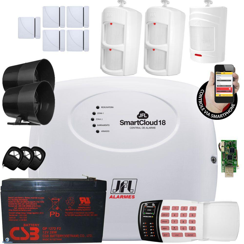 Kit Alarme Jfl Smart Cloud 18 Com Sensores Jfl E Teclado De Senha