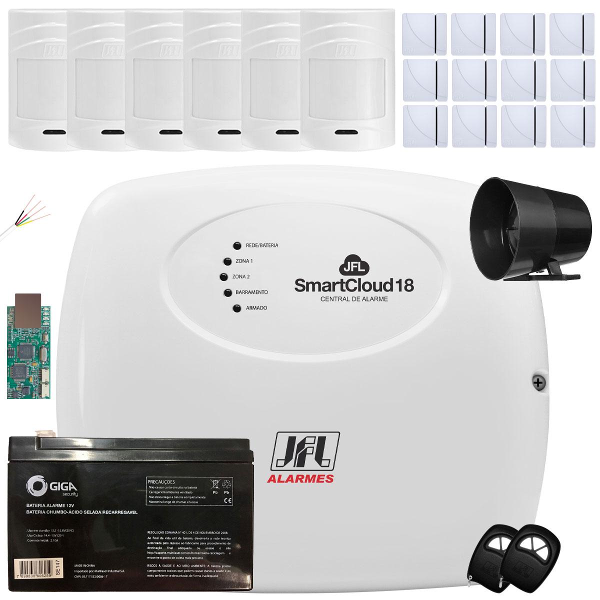 Kit Alarme Jfl Smartcloud 18 Sensores Ir Pet 530 E Shc Fit Jfl