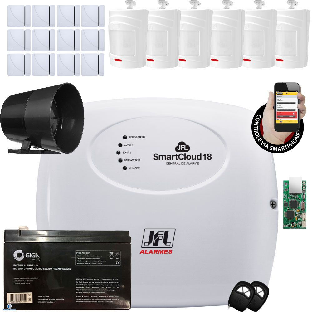 Kit Alarme Jfl Smartcloud 18 Sensores Irs 430 E Shc Fit Jfl