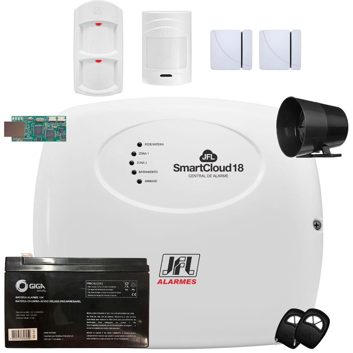Kit Alarme Jfl SmartCloud 18 Sensores Jfl Shc Fit e Ird 640
