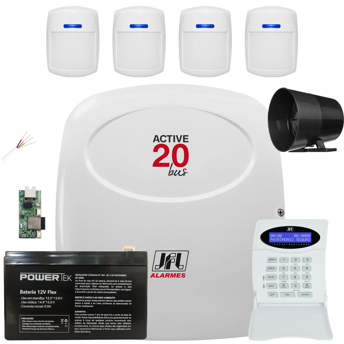 Kit Alarme Monitorado Active 20 Bus Com Sensores 510 Bus Jfl
