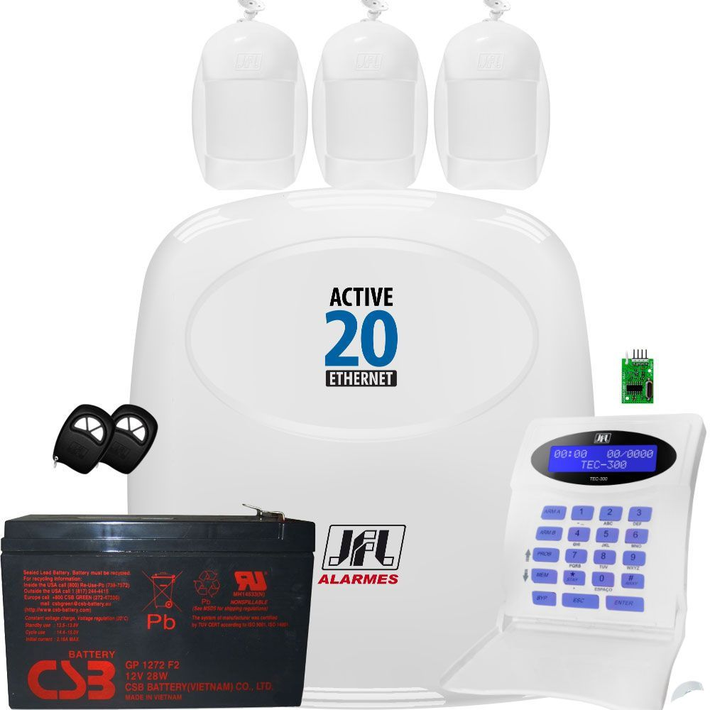 Kit Alarme Monitorado Active 20 Ethernet Acesso Via App Celular