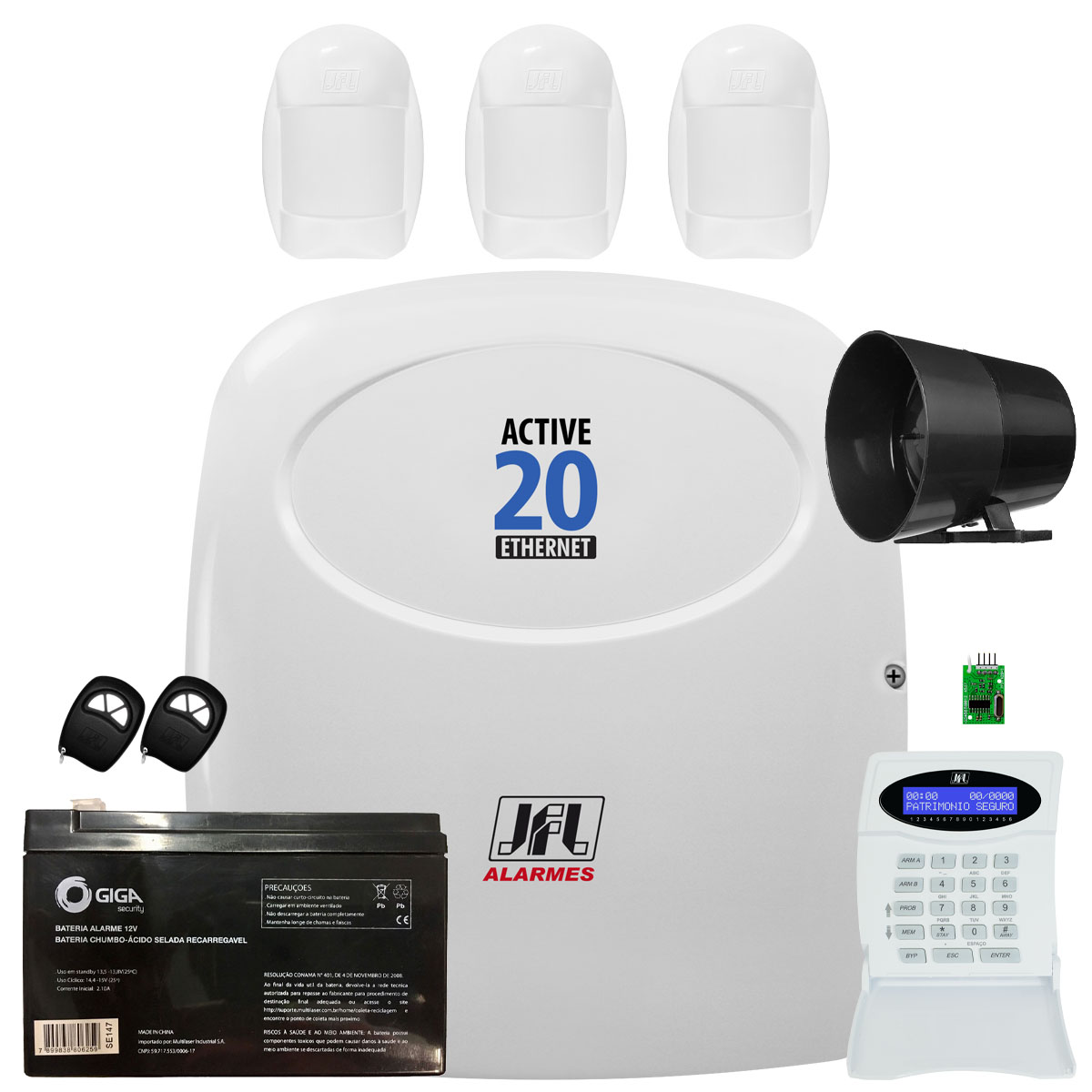 Kit Alarme Monitorado Active 20 Ethernet Acesso Via App Celular