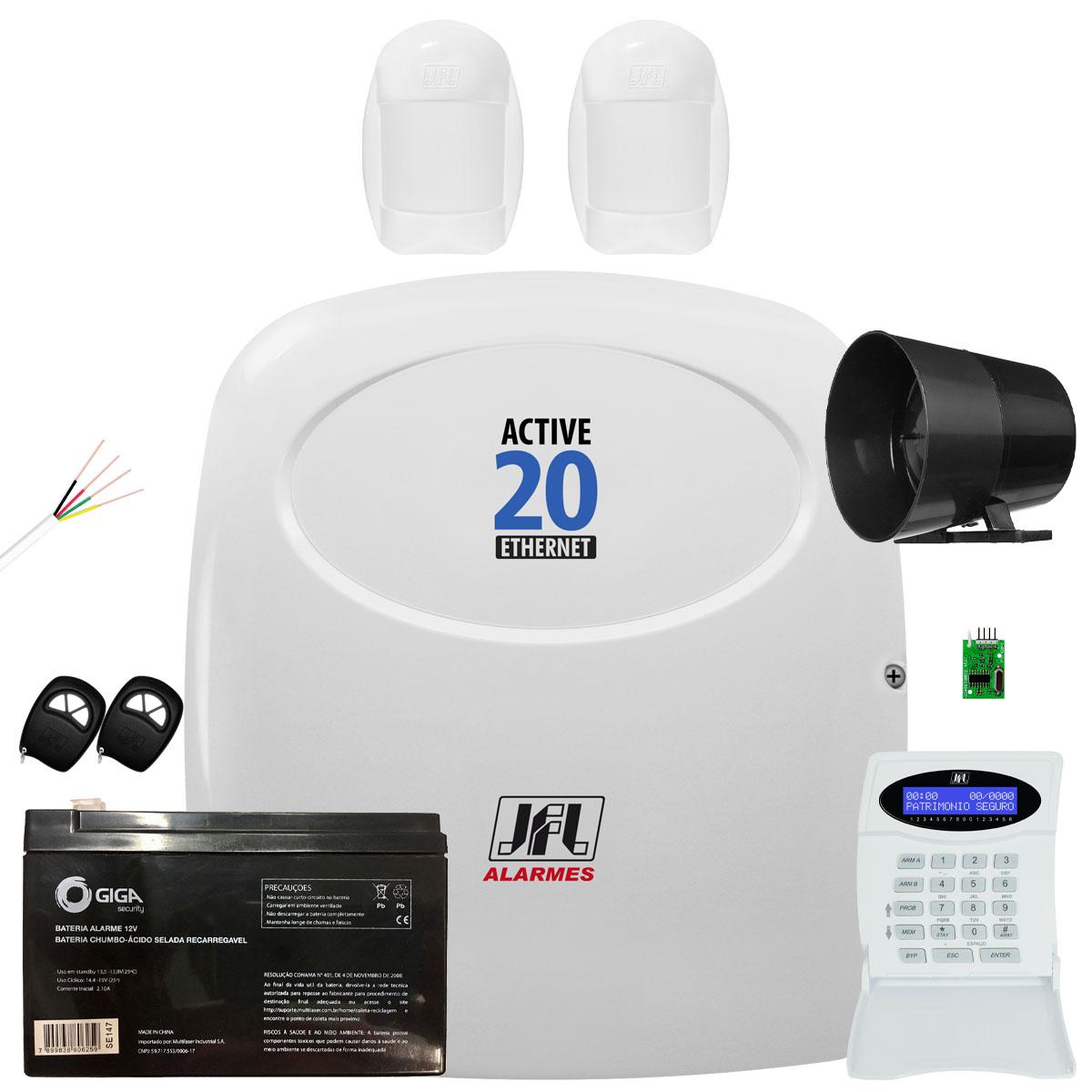 Kit Alarme Monitorado Active 20 Ethernet Com Sensor Idx 1001