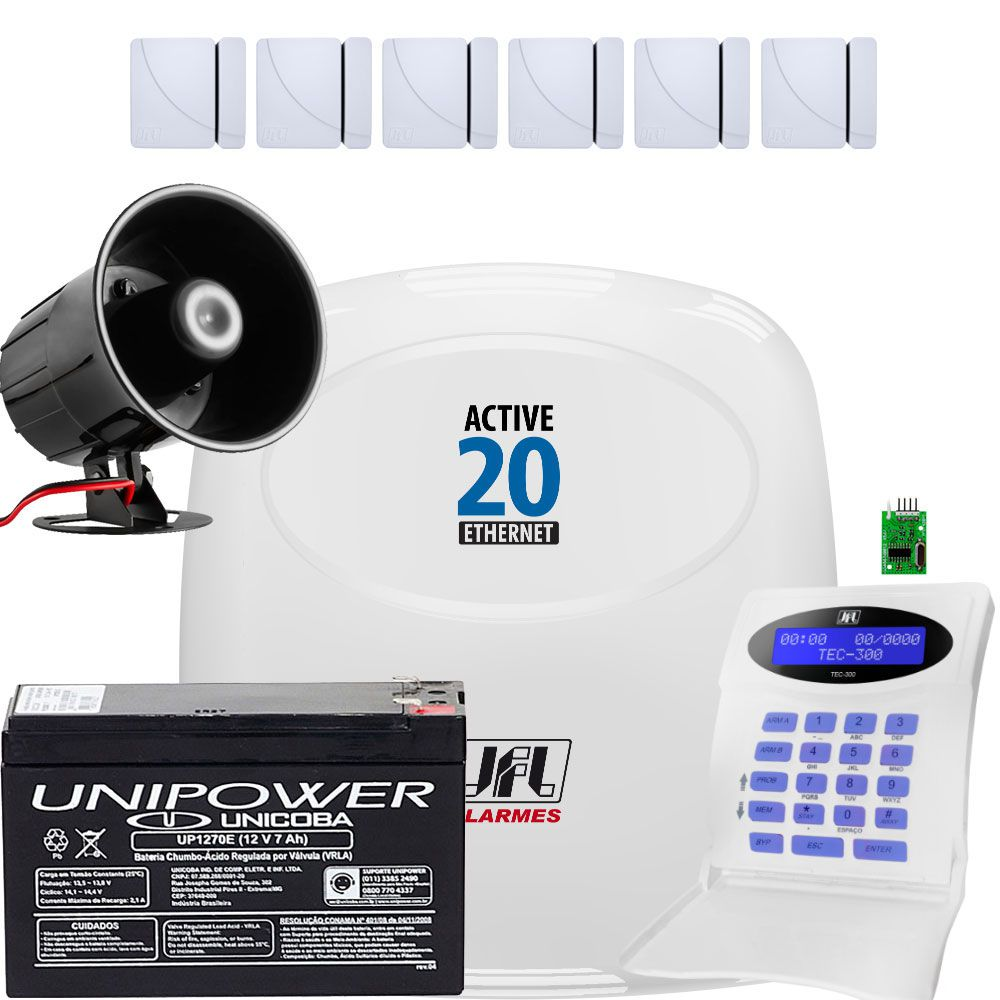 Kit Alarme Monitorado Active 20 Ethernet Jfl Sensores Shc Fit Jfl