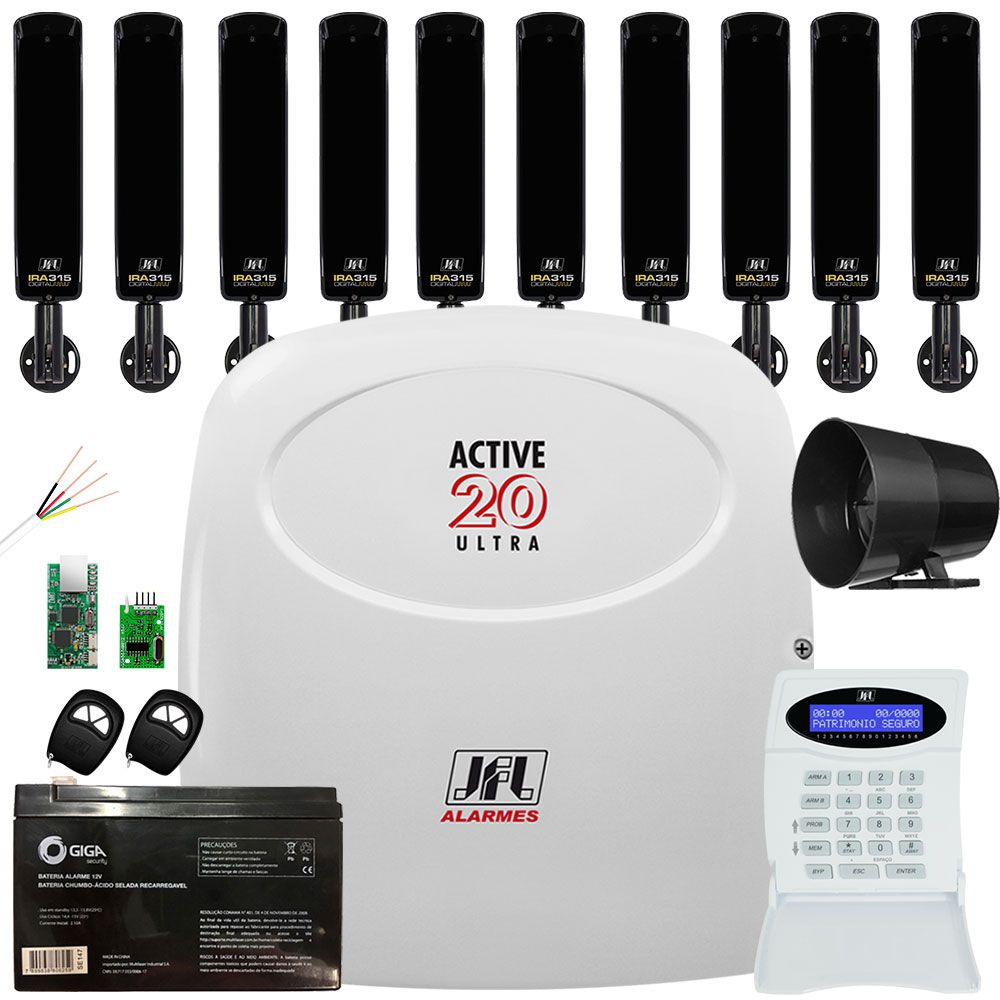 Kit Alarme Monitorado Active 20 Ultra Sensor Barreira Ira 315 Jfl