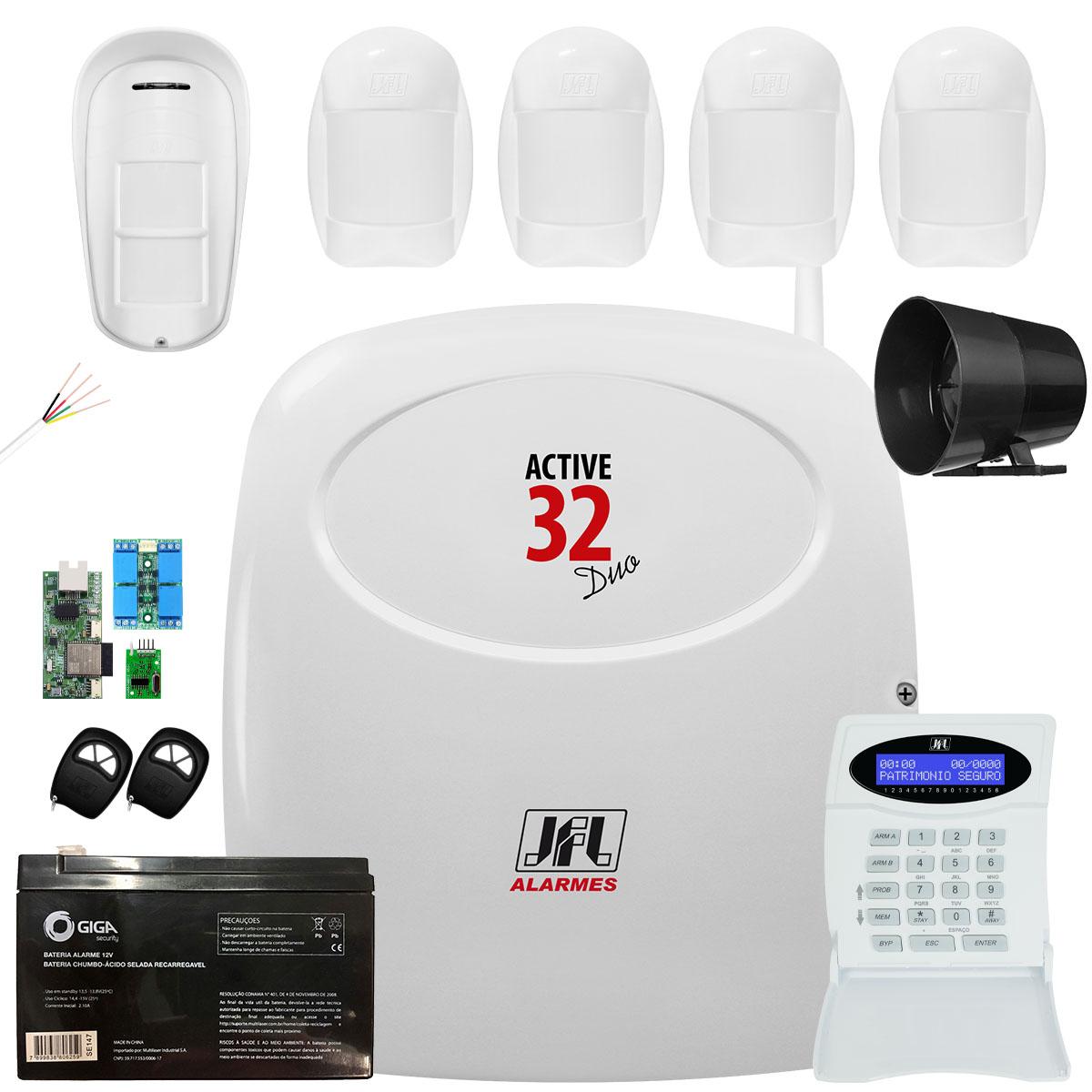 Kit Alarme Monitorado Active 32 Duo Com Ethernet E Gprs Completo