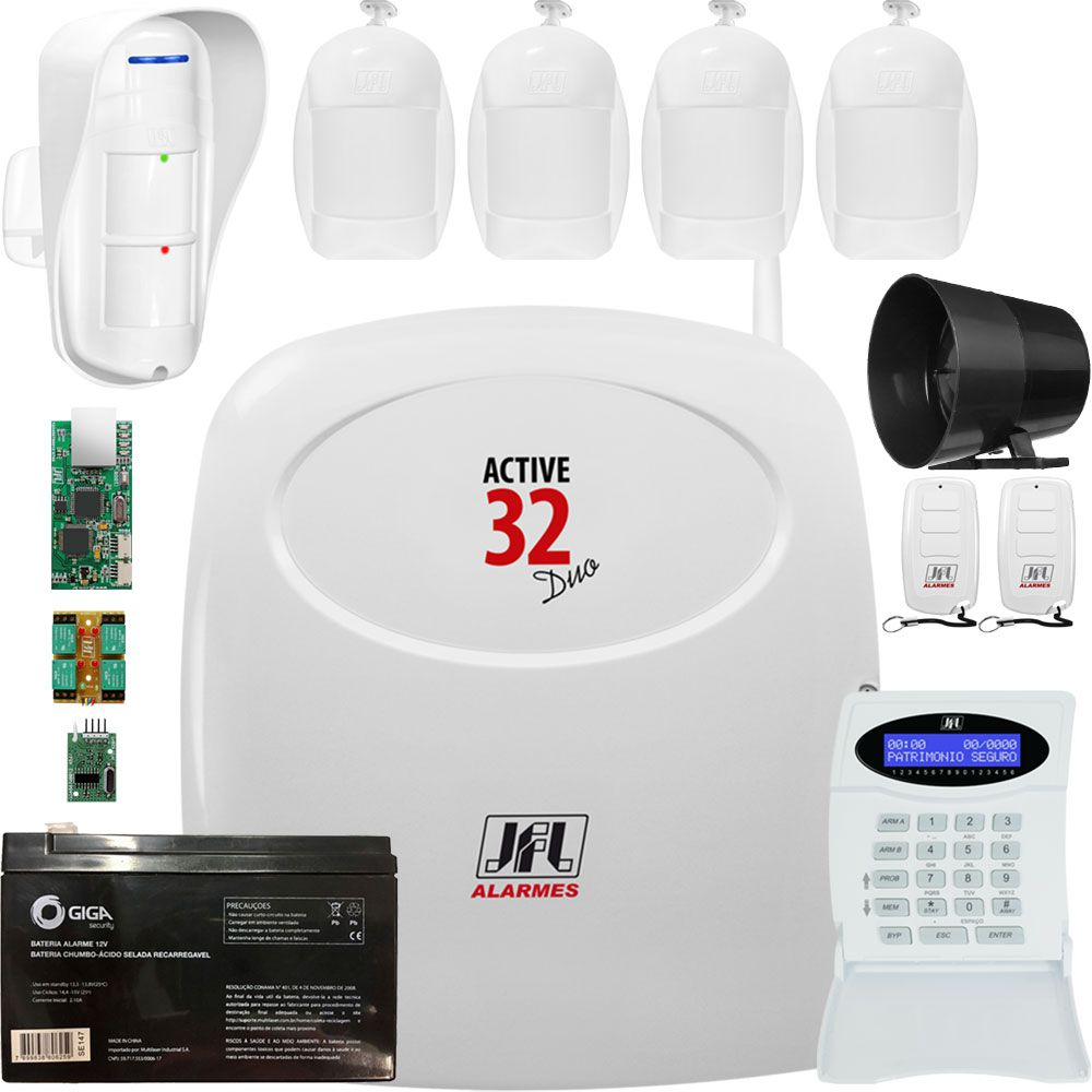 Kit Alarme Monitorado Active 32 Duo Com Ethernet E Gprs Completo