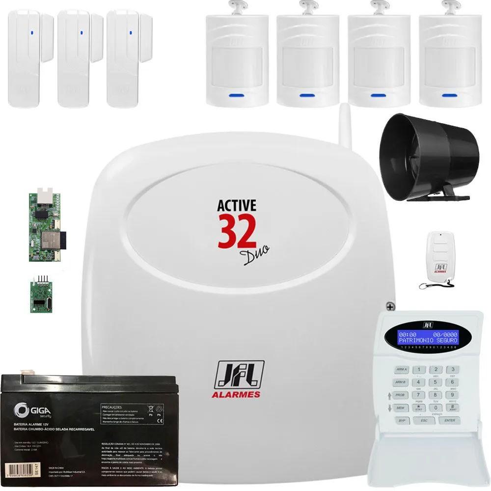 Kit Alarme Monitorado Active 32 Duo Jfl Acesso Via App Celular