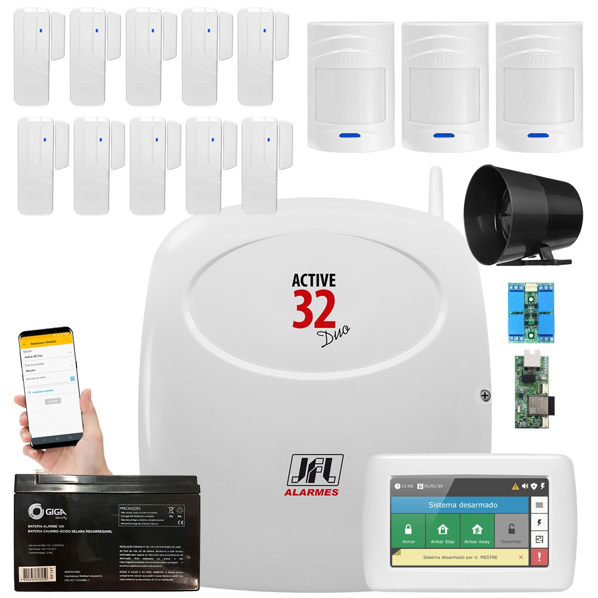 Kit Alarme Monitorado Active 32 Duo Jfl Sensores Sl 220 e 520 Duo