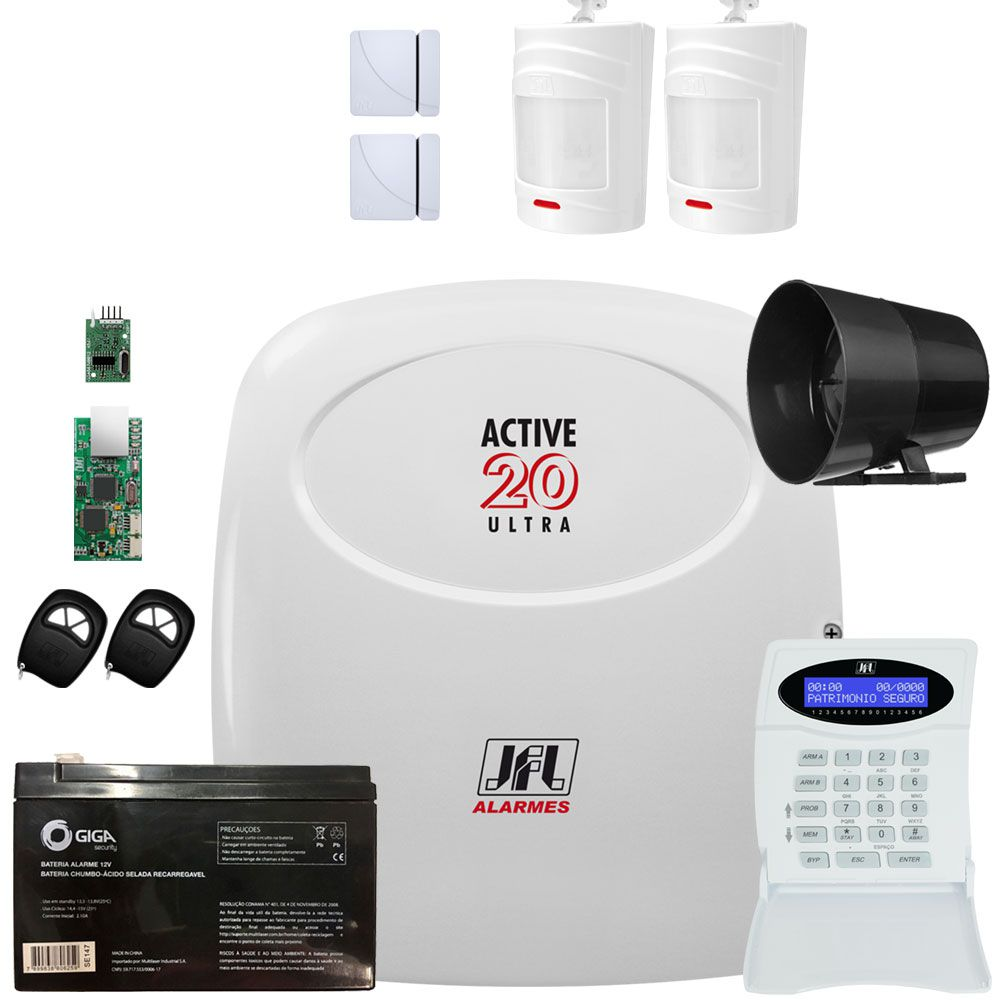 Kit Alarme Monitorado Central De Alarme Active 20 Jfl